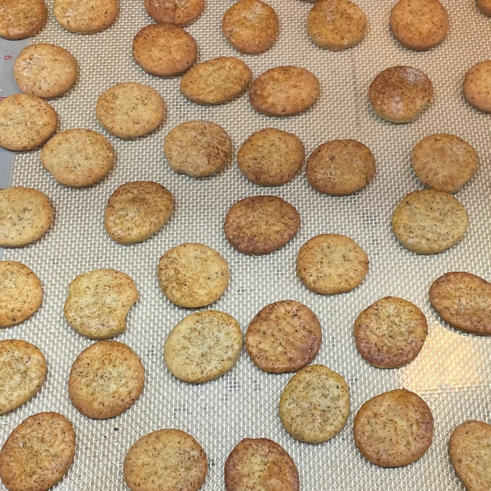 Butter crackers with mushroom powder fresh out of the oven